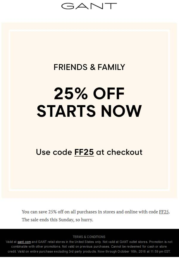 Gant.com Promo Coupon 25% off at Gant, or online via promo code FF25