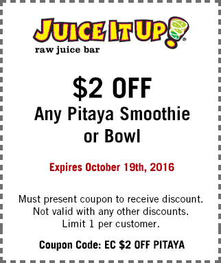 JuiceitUp.com Promo Coupon $2 off a pitaya smoothie or bowl at Juice It Up