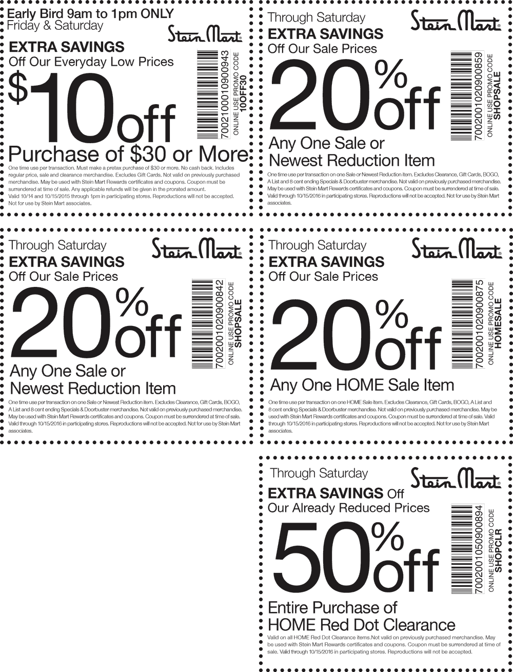 Stein Mart Coupon January 2018 $10 off $30 & more at Stein Mart, or online via promo code 10OFF30