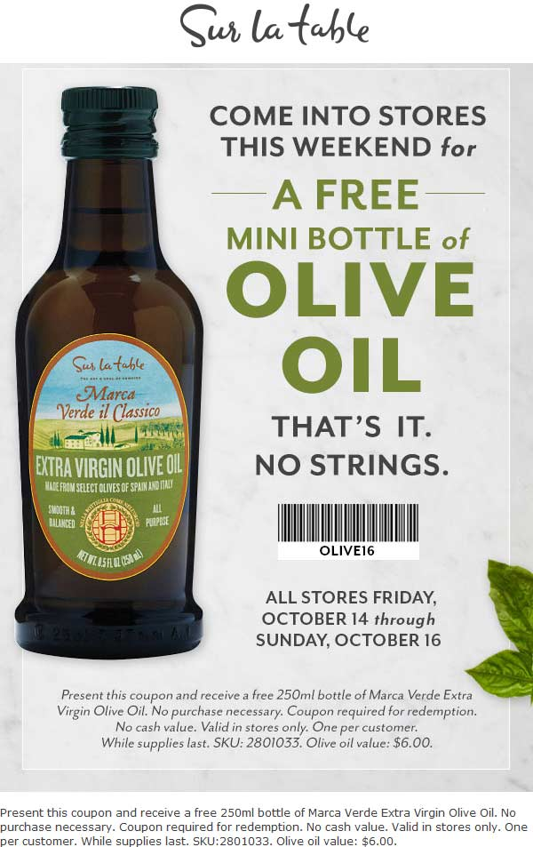 SurLaTable.com Promo Coupon Free $6 bottle of olive oil at Sur la Table, no purchase necessary