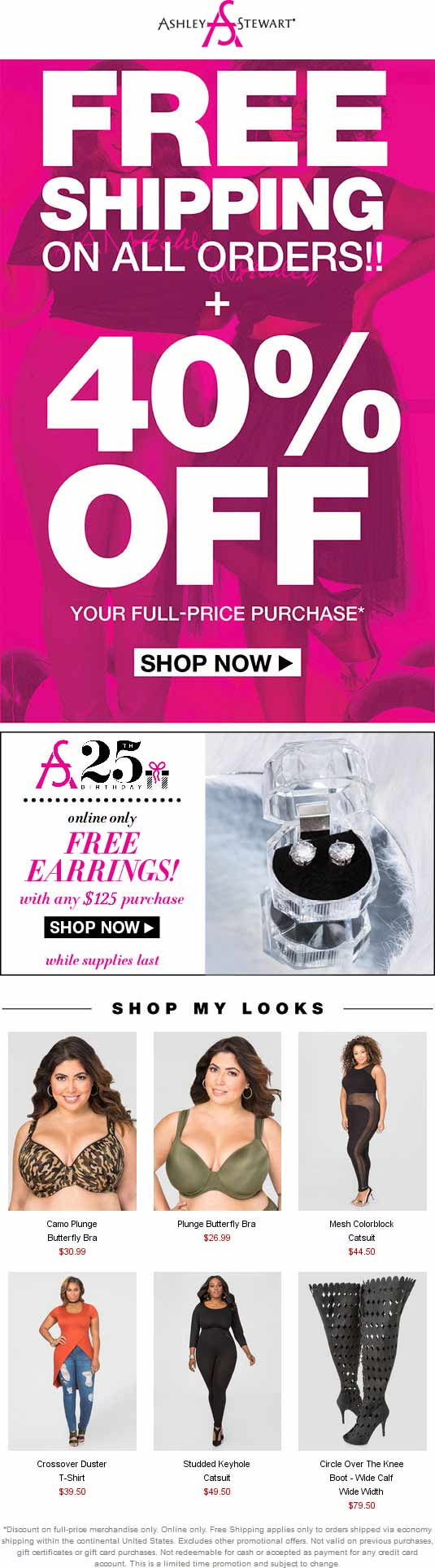 Ashley Stewart Coupon November 2017 40% off online at Ashley Stewart