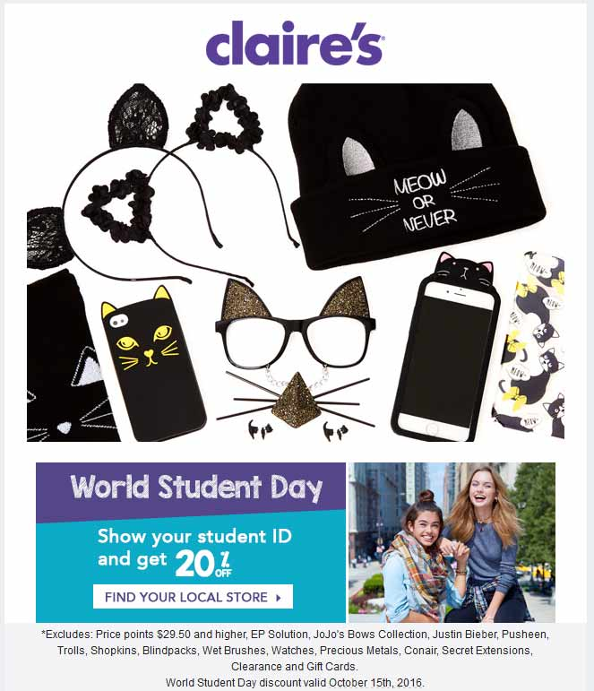 Claires Coupon March 2017 20% off for students today at Claires