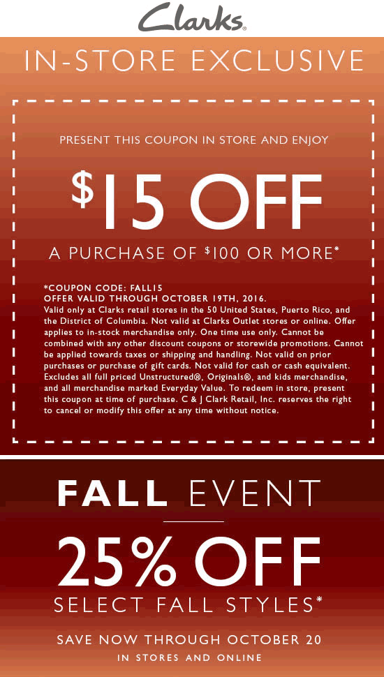Clarks Coupon December 2019 $15 off $100 at Clarks shoes