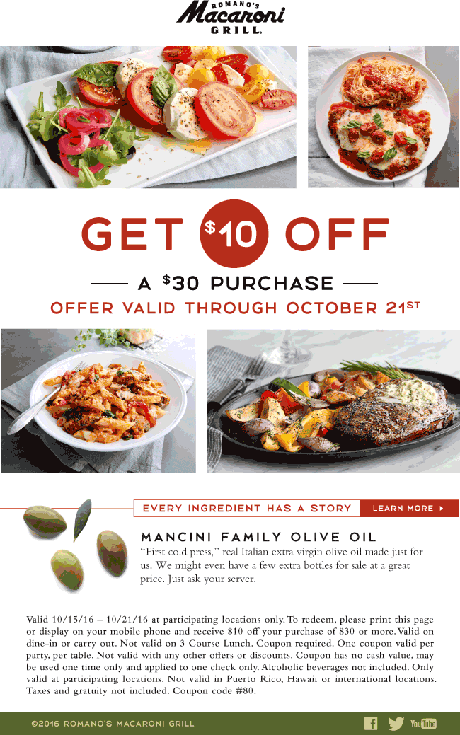 Macaroni Grill Coupon February 2017 $10 off $30 at Macaroni Grill restaurants