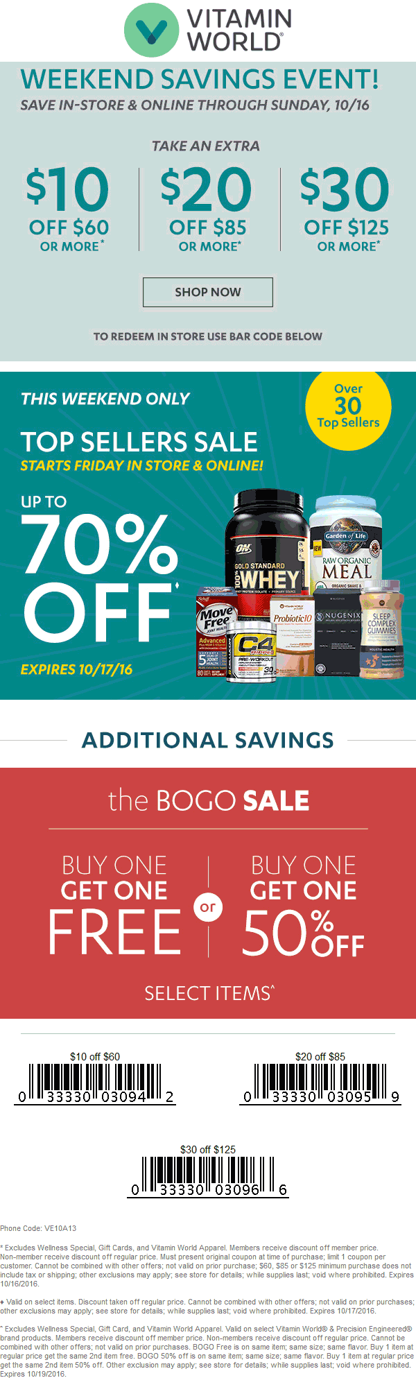 VitaminWorld.com Promo Coupon $10 off $60 & more at Vitamin World, or online via promo code VE10A13