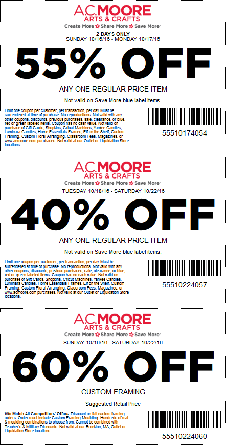 A.C.Moore.com Promo Coupon 55% off a single item & more at A.C. Moore