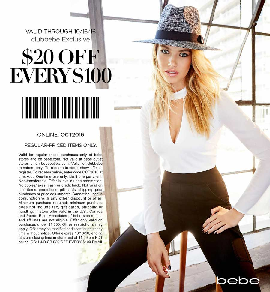 Bebe Coupon April 2018 $20 off every $100 today at bebe, or online via promo code OCT2016