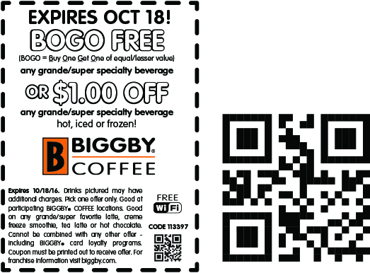 Biggby Coffee Coupon February 2017 Second drink free at Biggby Coffee