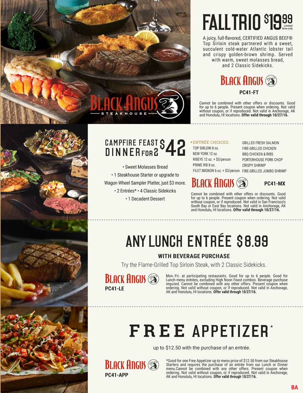 Black Angus Coupon April 2017 $12 appetizer free with your entree & more at Black Angus steakhouse