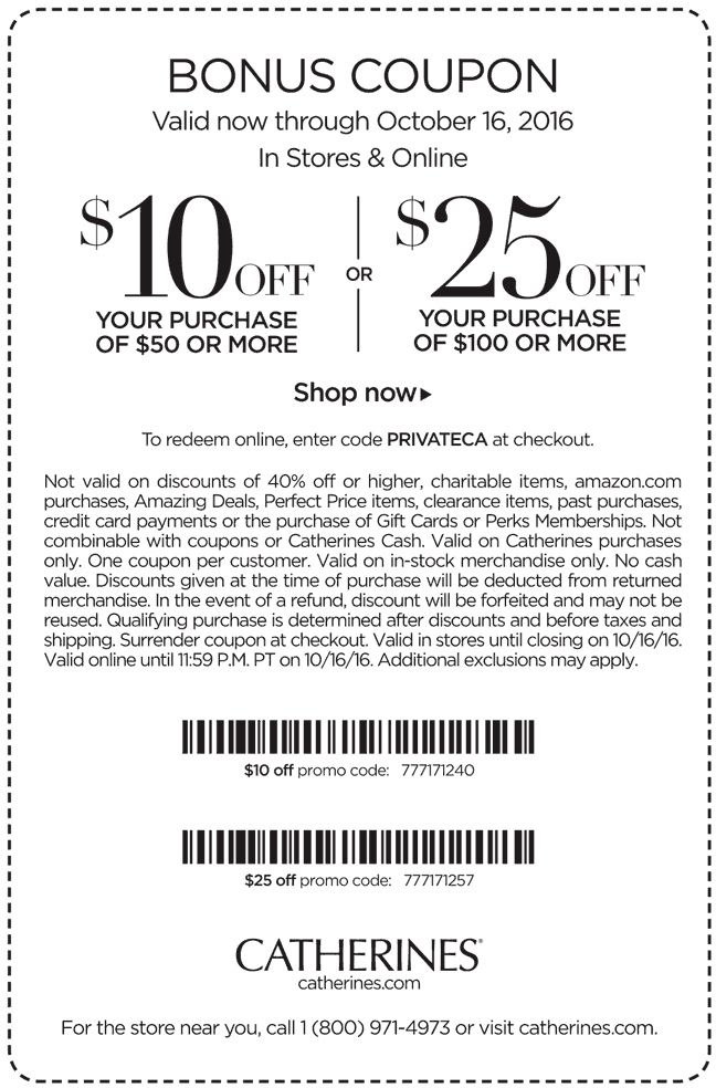 Catherines.com Promo Coupon $10 off $50 & more today at Catherines, or online via promo code PRIVATECA