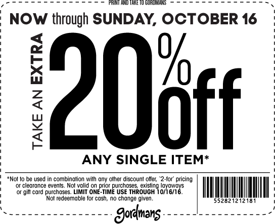 Gordmans.com Promo Coupon 20% off a single item today at Gordmans