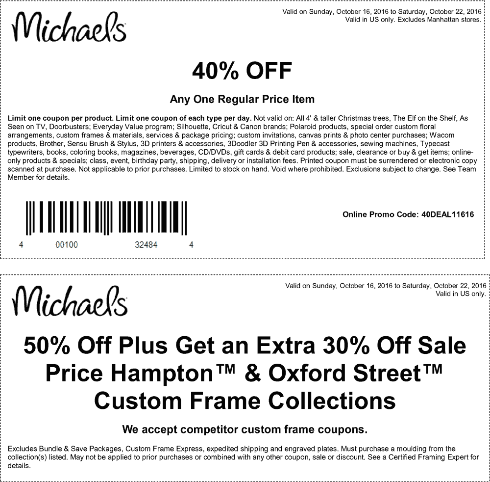 Michaels.com Promo Coupon 40% off a single item at Michaels, or online via promo code 40DEAL11616