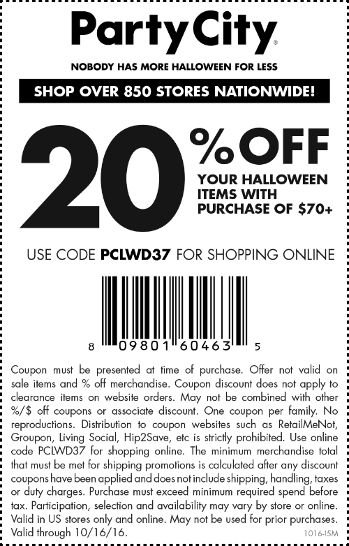Party City Coupon May 2018 20% off $70 on Halloween today at Party City, or online via promo code PCLWD37