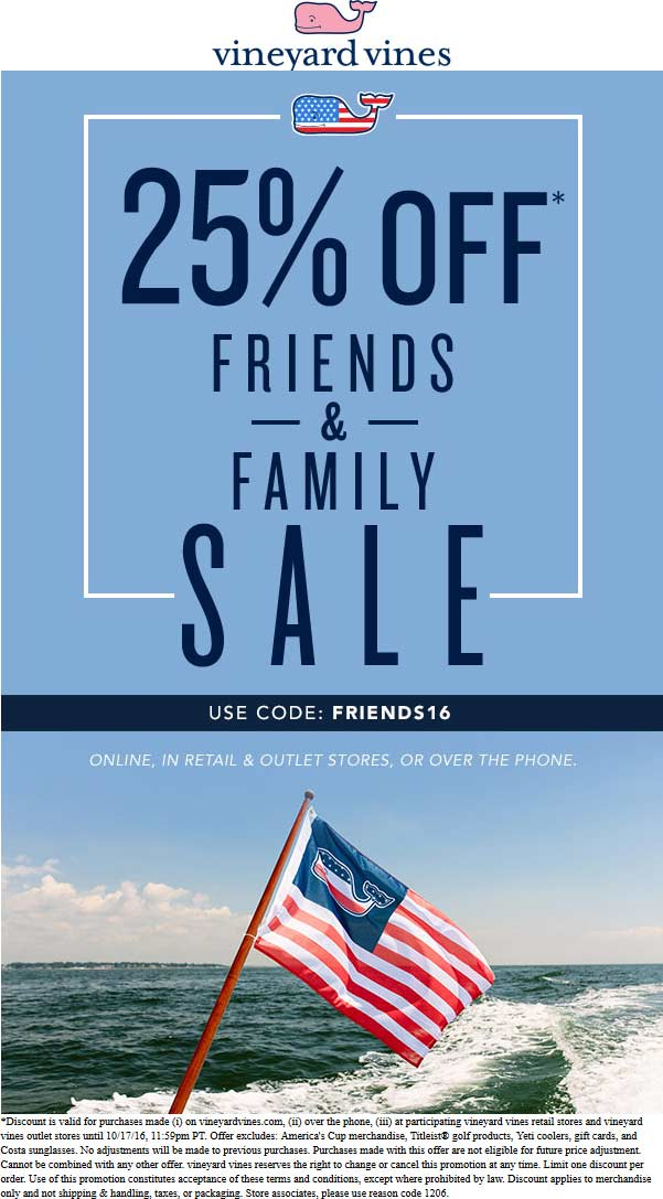 Vineyard Vines Coupon December 2016 25% off at Vineyard Vines, or online via promo code FRIENDS16