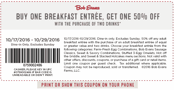 Bob Evans Coupon February 2018 Second breakfast 50% off at Bob Evans