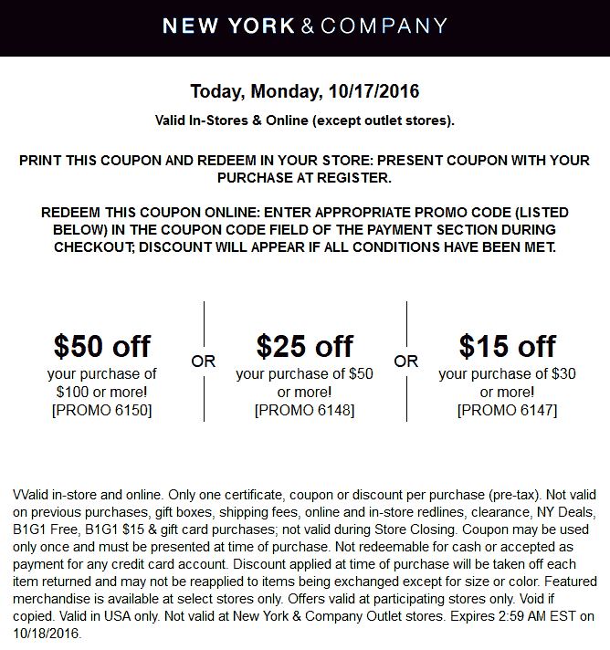 NewYork&Company.com Promo Coupon $15 off $30 & more today at New York & Company, or online via promo code 6147