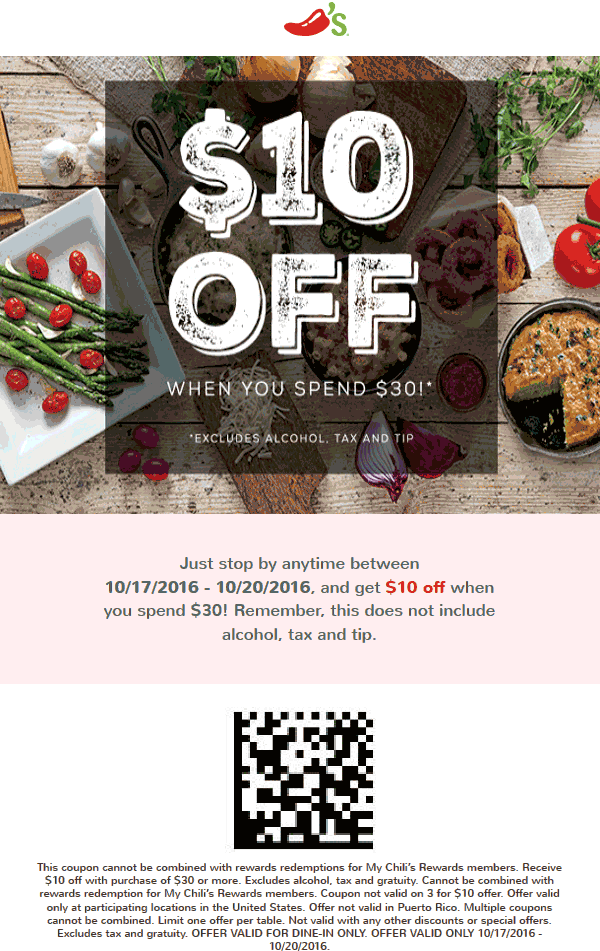 Chilis Coupon August 2017 $10 off $30 at Chilis restaurants