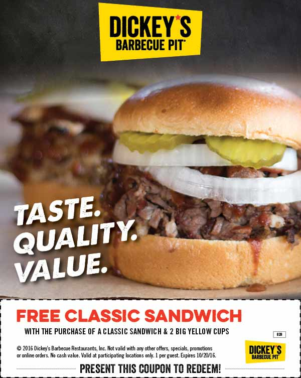 Dickeys Barbecue Pit Coupon October 2016 Second sandwich free at Dickeys Barbecue Pit