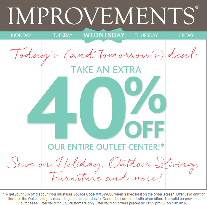 Improvements.com Promo Coupon Extra 40% off the outlet items online at Improvements via promo code MM6W600