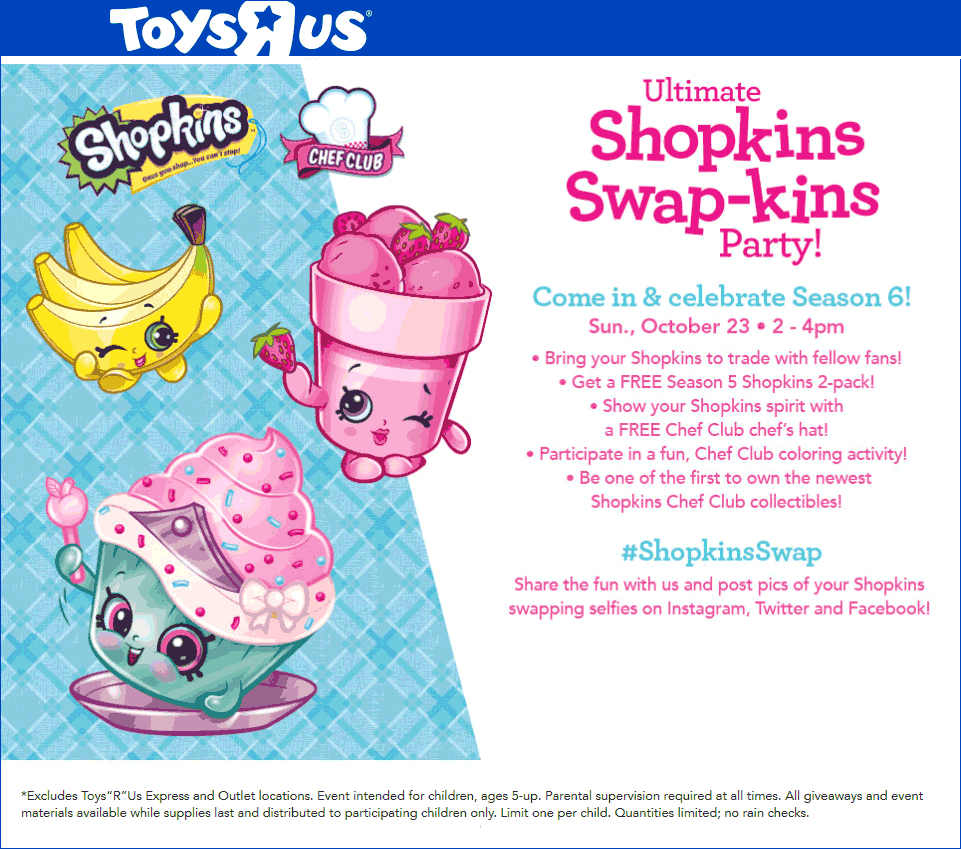 ToysRUs.com Promo Coupon Free Shopkins 2pk Sunday 2-4p at Toys R Us