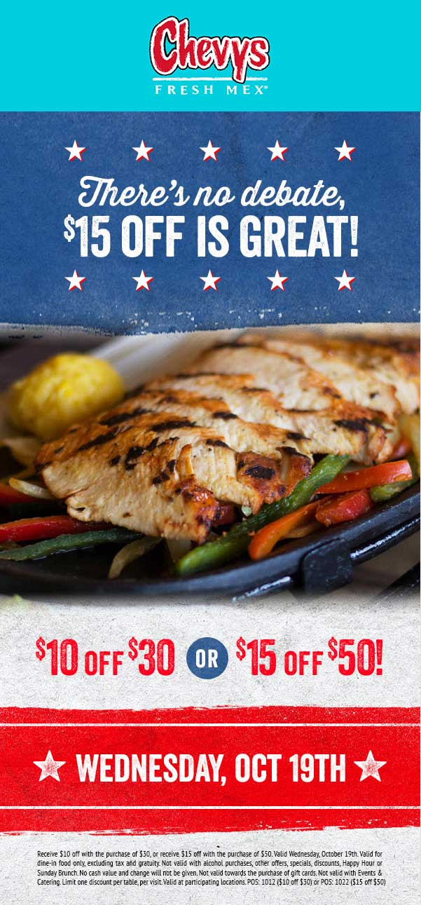 Chevys.com Promo Coupon $10 off $30 & more today at Chevys Fresh Mex restaurants