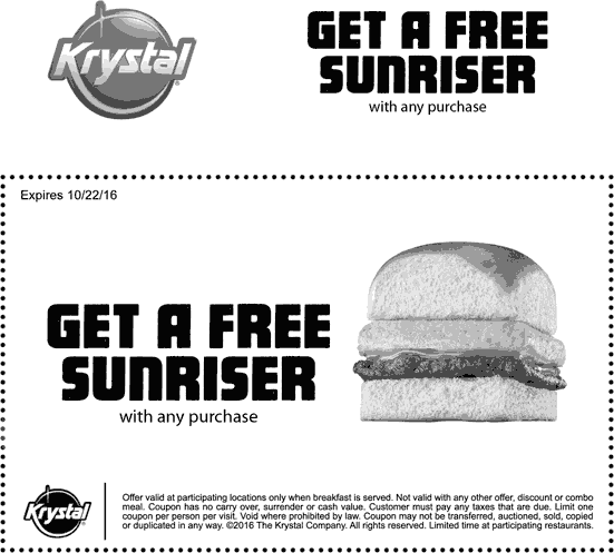 Krystal Coupon January 2018 Free sunriser with any purchase at Krystal restaurants