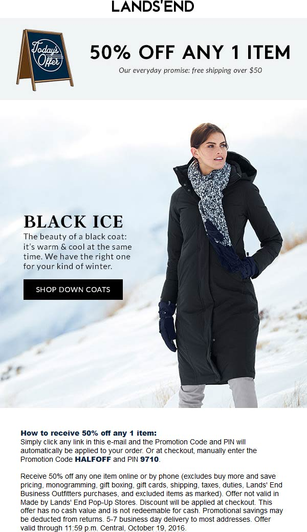 LandsEnd.com Promo Coupon 50% off a single item online today at Lands End via promo code HALFOFF & pin 9710