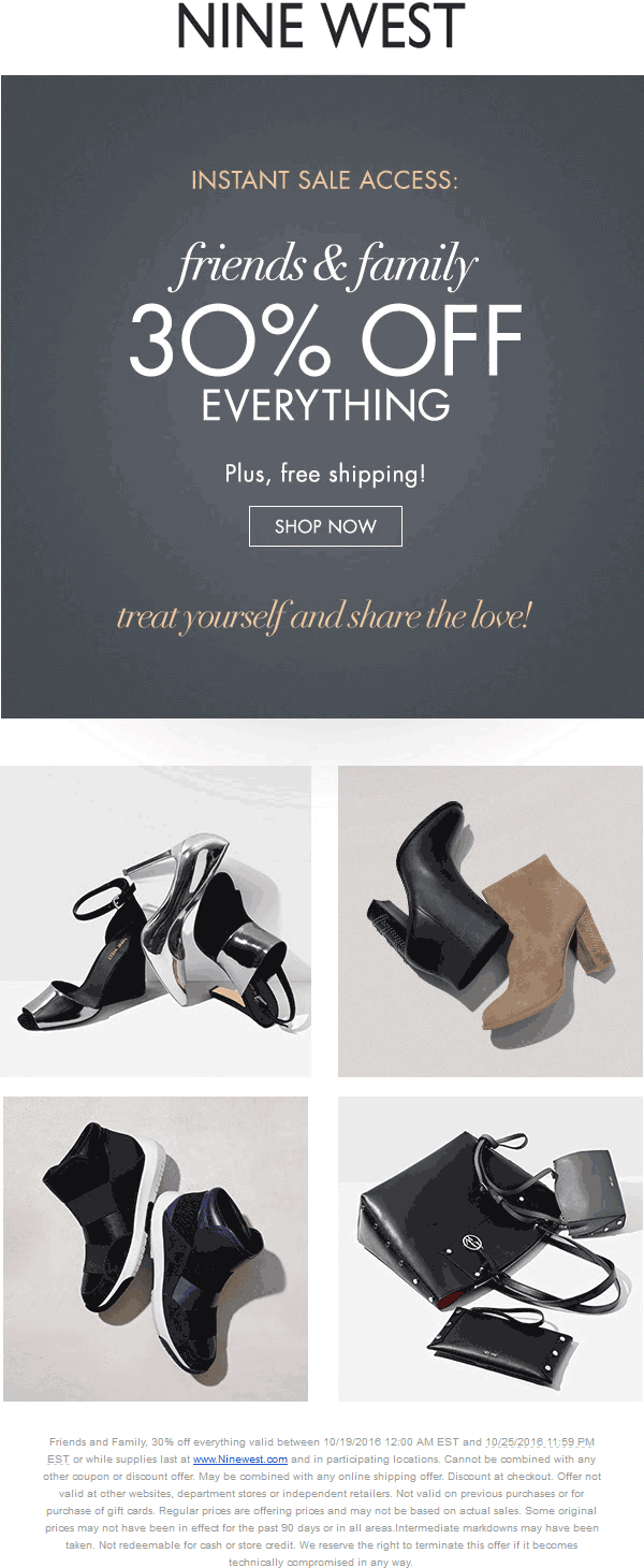 NineWest.com Promo Coupon 30% off everything at Nine West, ditto online with free ship