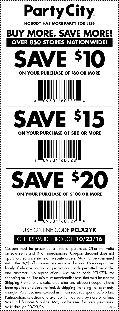 PartyCity.com Promo Coupon $10 off $60 & more at Party City, or online via promo code PCLX2YK