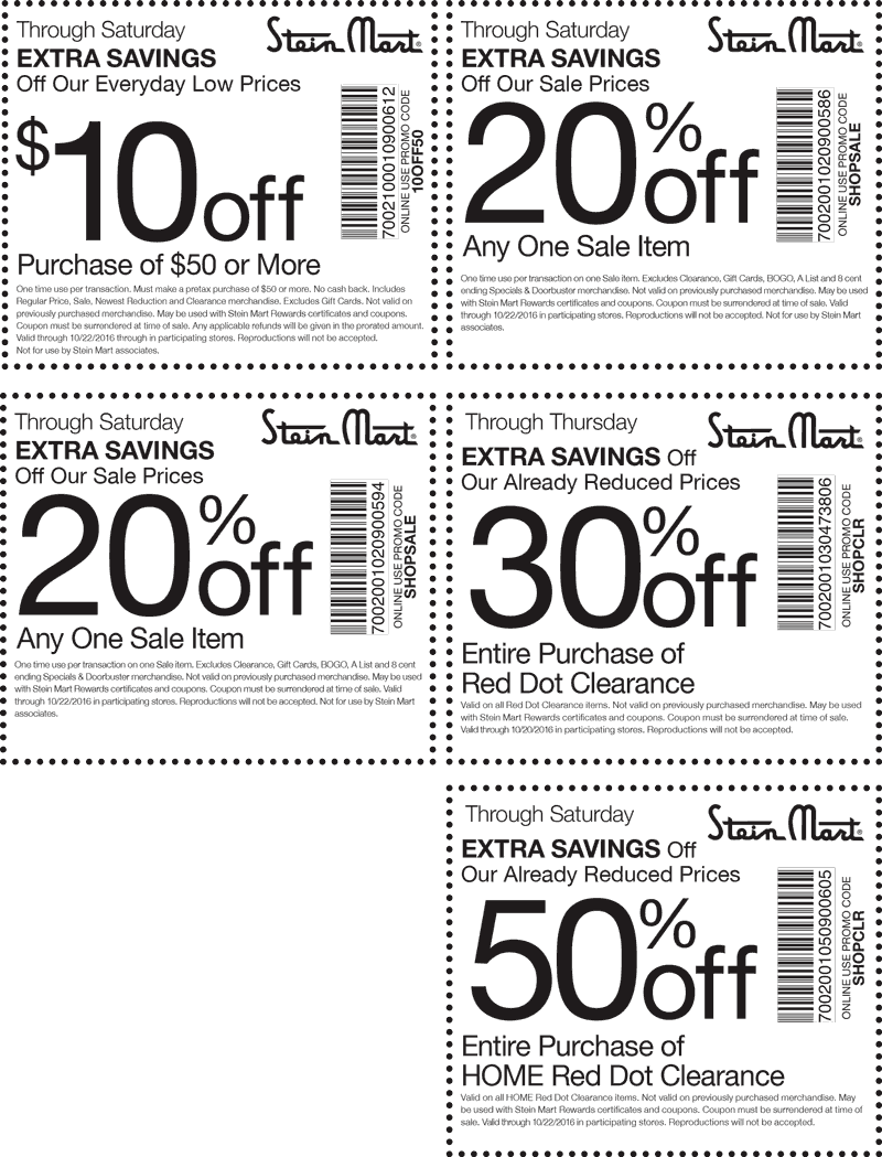 SteinMart.com Promo Coupon $10 off $50 & more at Stein Mart, or online via promo code 10OFF50