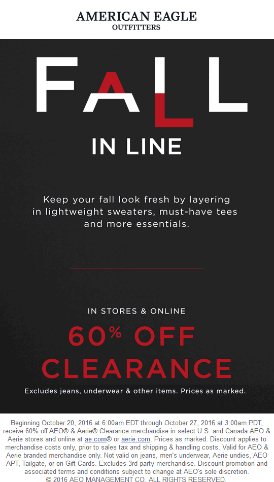 AmericanEagleOutfitters.com Promo Coupon 60% off clearance at American Eagle Outfitters, ditto online