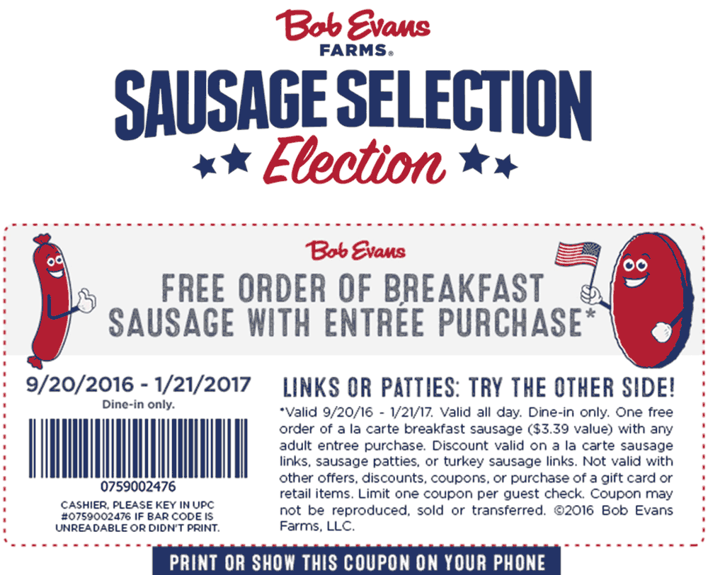 BobEvans.com Promo Coupon Free sausage with your entree at Bob Evans