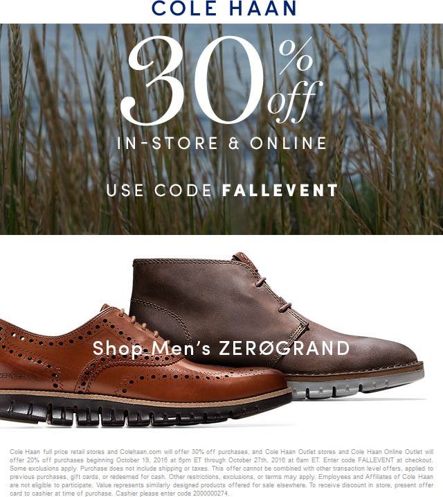 Cole Haan Coupon March 2019 30% off at Cole Haan, or online via promo code FALLEVENT