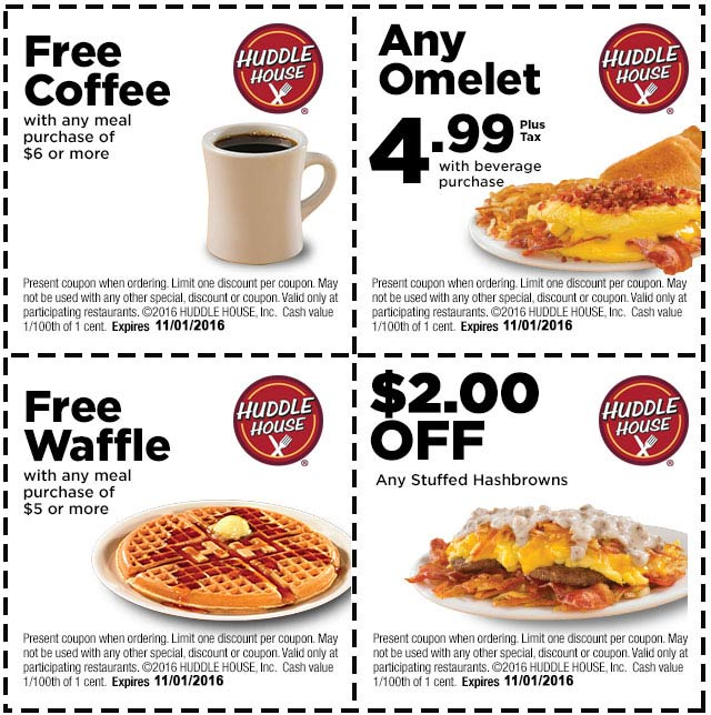 HuddleHouse.com Promo Coupon Free waffle or coffee with $6 spent & more at Huddle House