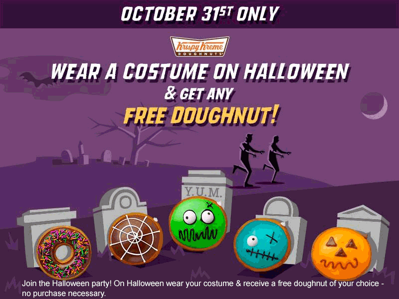 KrispyKreme.com Promo Coupon Free doughnut in costume Halloween at Krispy Kreme