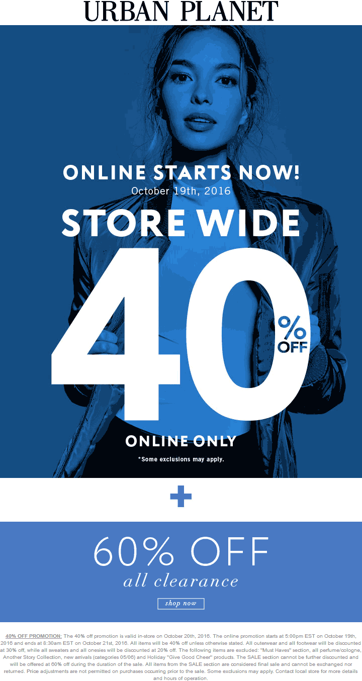 UrbanPlanet.com Promo Coupon 40% off & more at Urban Planet, ditto online