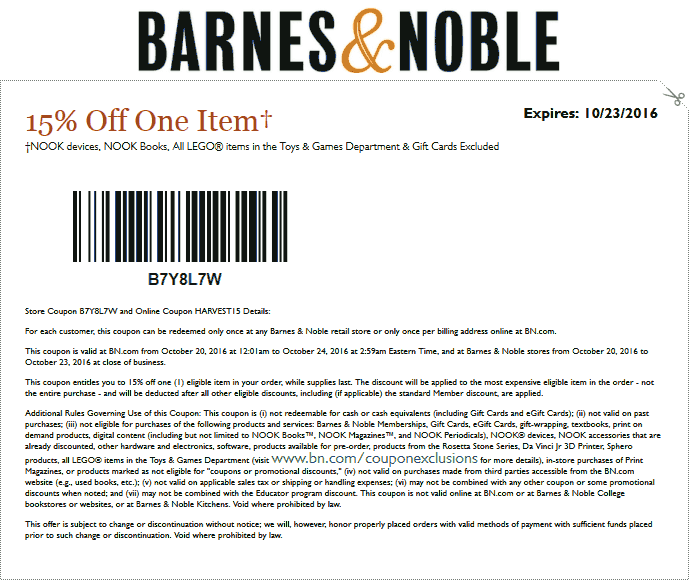 Barnes&Noble.com Promo Coupon 15% off a single item at Barnes & Noble, or online via promo code HARVEST15