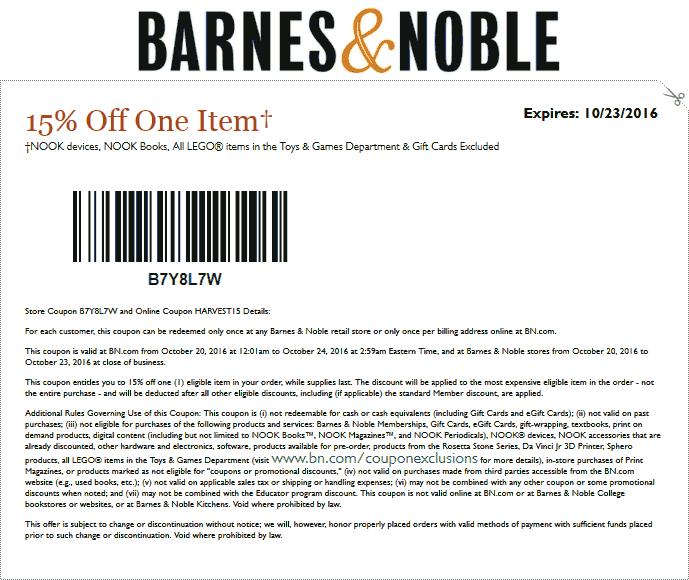 Barnes&Noble.com Promo Coupon 15% off a single item at Barnes & Noble, or online via promo code HARVEST15