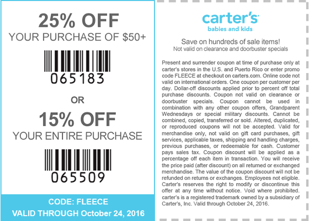Carters.com Promo Coupon 25% off $50 at Carters, or online via promo code FLEECE