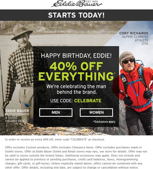 EddieBauer.com Promo Coupon 40% off at Eddie Bauer, or online via promo code CELEBRATE
