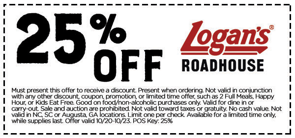 LogansRoadhouse.com Promo Coupon 25% off at Logans Roadhouse restaurants