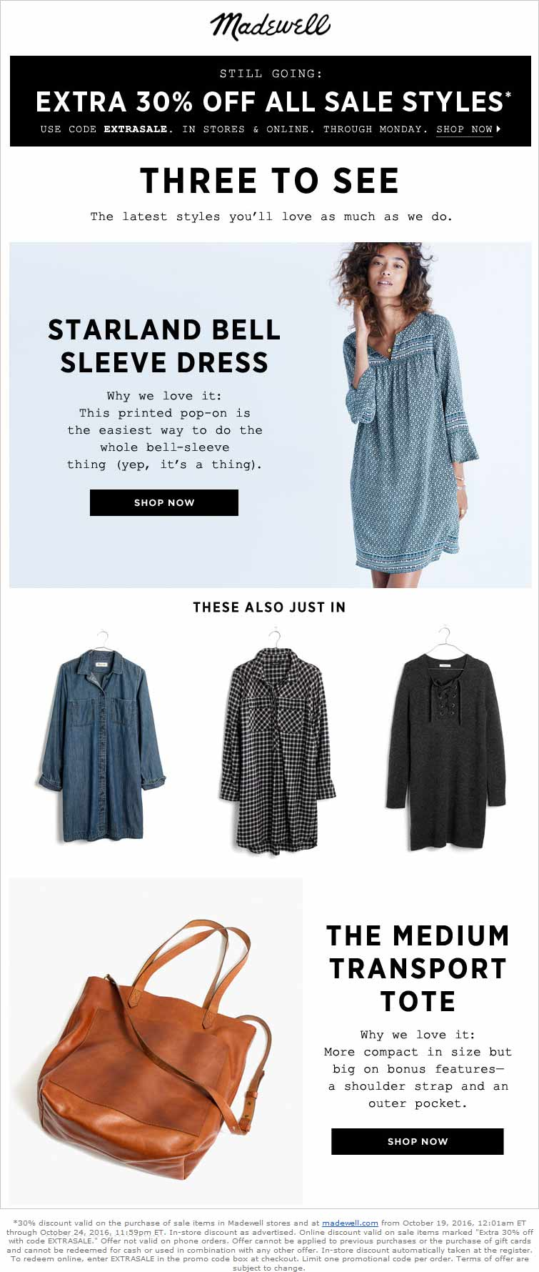 Madewell.com Promo Coupon Extra 30% off sale items at Madewell, or online via promo code EXTRASALE