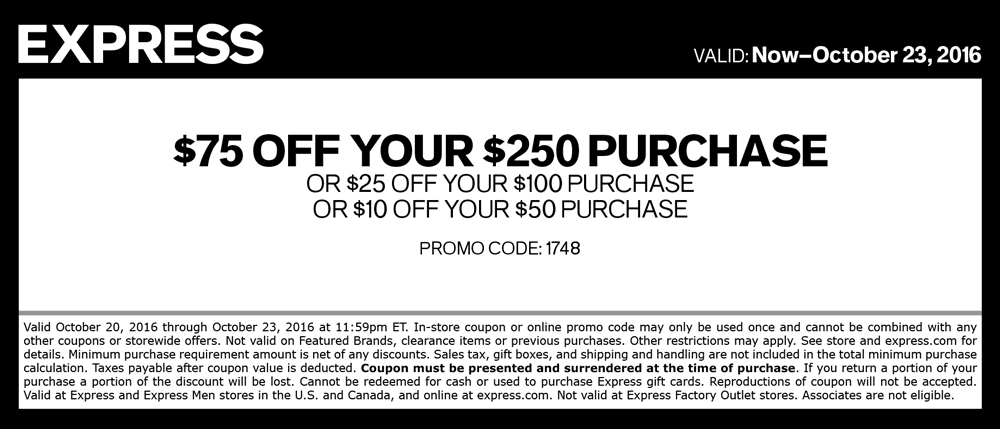 Express.com Promo Coupon $10 off $50 & more at Express, or online via promo code 1748