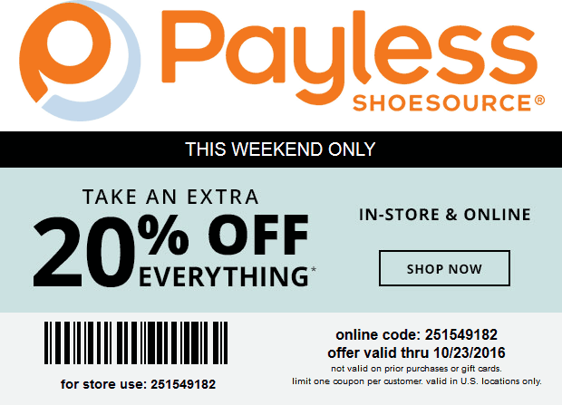 PaylessShoesource.com Promo Coupon 20% off everything at Payless Shoesource, or online via promo code 251549182