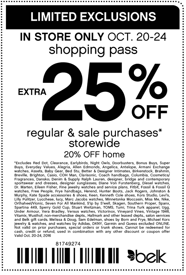 Belk.com Promo Coupon Extra 25% off at Belk