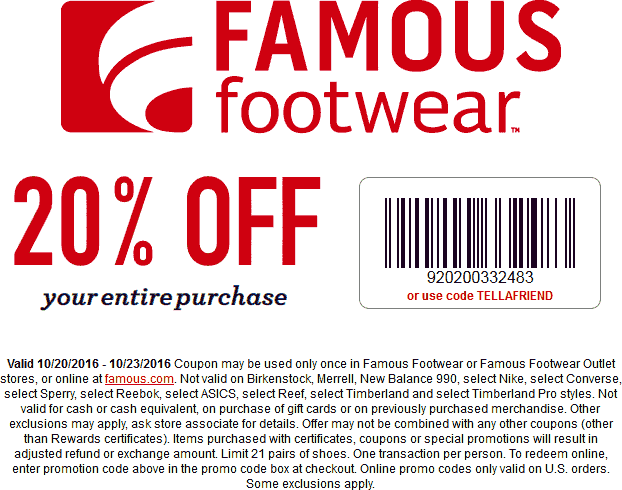 FamousFootwear.com Promo Coupon 20% off at Famous Footwear, or online via promo code TELLAFRIEND
