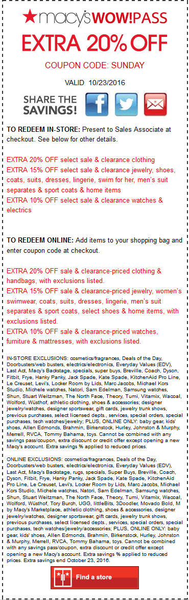 Macys.com Promo Coupon Extra 20% off today at Macys, or online via promo code SUNDAY