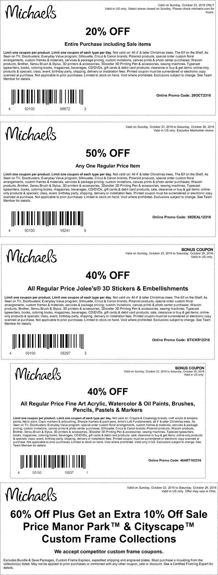 Michaels.com Promo Coupon 20-50% off & more at Michaels, or online via promo code 50DEAL12316