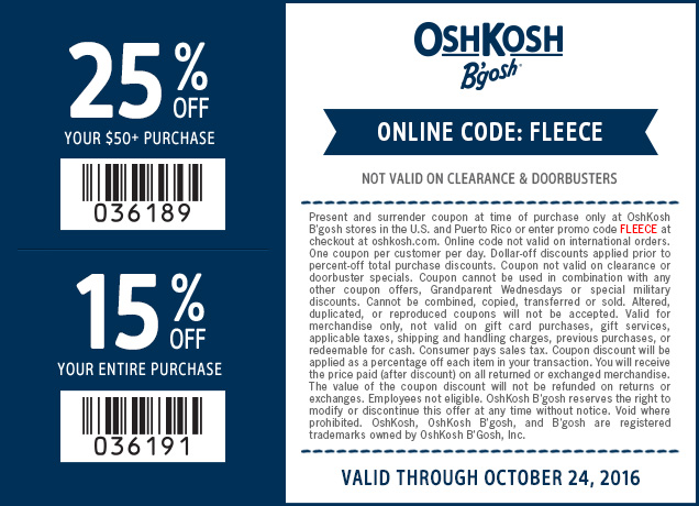 OshkoshBgosh.com Promo Coupon 15-25% off at OshKosh Bgosh, or online via promo code FLEECE