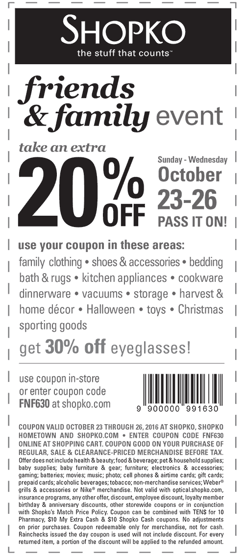 Shopko.com Promo Coupon Extra 20% off at Shopko, or online via promo code FNF630